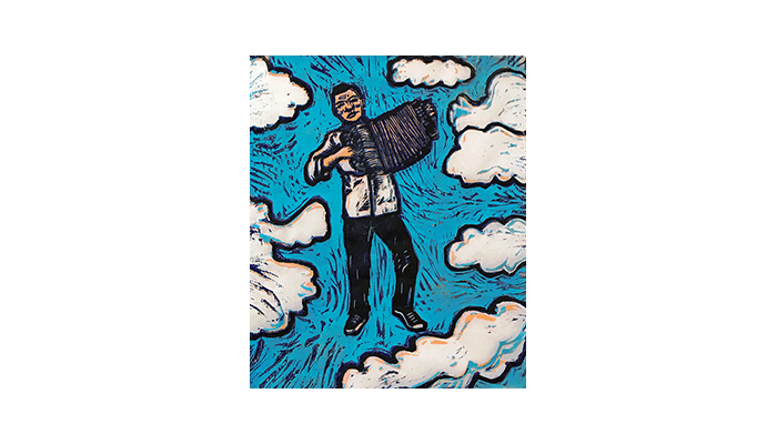 """Accordianista - 14"""" x 16"""" woodblock print, $200 framed 