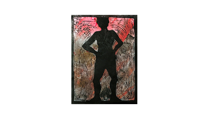 "Akimbo - 12"" x 16"" monoprint, $250 framed 