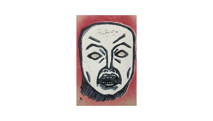 "Mask of Anger - 8"" x 10"" linocut, $175 framed 