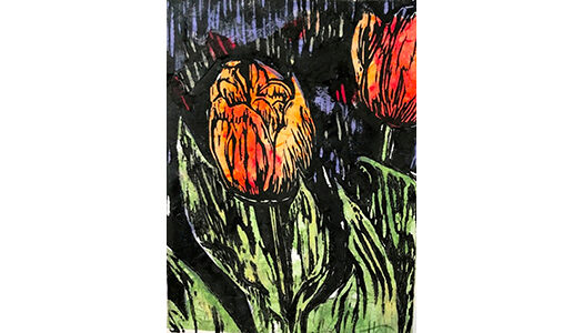 """Anne's Tulips - 14"""" x 16"""" woodblock chine-collé print, $300 framed 