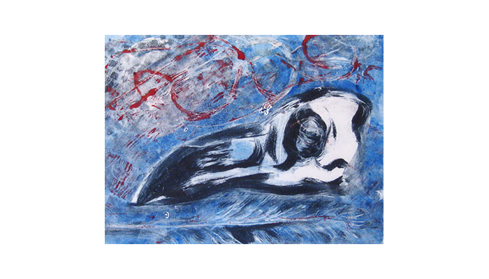 "Crow Spirit - 14"" x 16"" monotype, $200 framed,© Joanne Brown, Vancouver, BC"