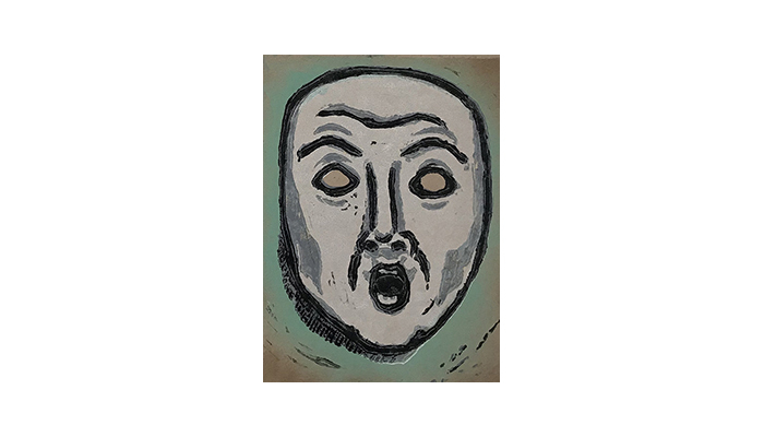"Mask of Fear - 8"" x 10"" linocut, $175 framed 