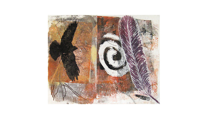 "Flight - 14"" x 16"" monotype © Joanne Brown, Vancouver, BC"