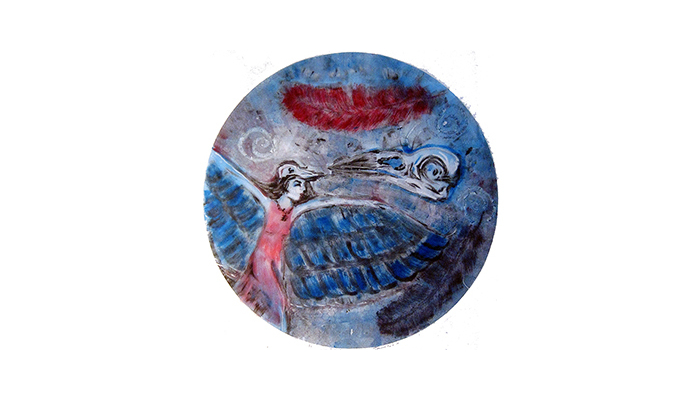 """Flying - 28"""" x 30"""" monotype, $400 framed© Joanne Brown, Vancouver, BC"""