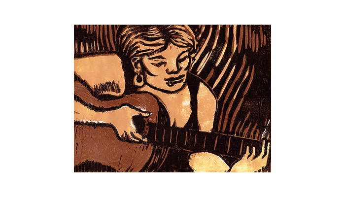 "Guitar Girl - 13"" x 14"" linocut print, $250 framed 