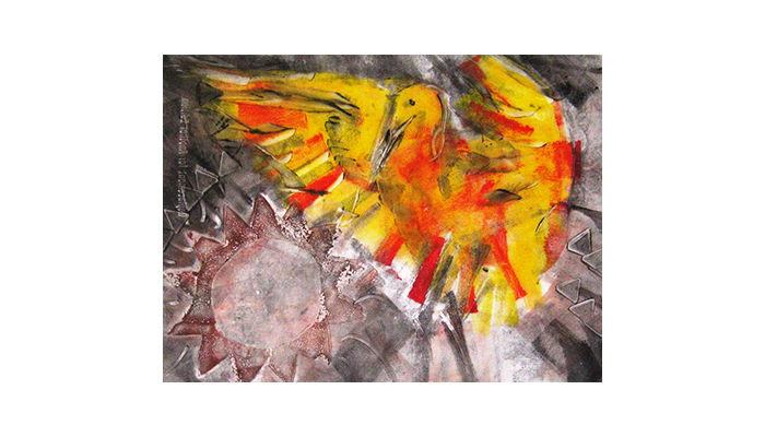 "Phoenix - 14"" x 16"" monotype, $200 framed, © Joanne Brown, Vancouver, BC"