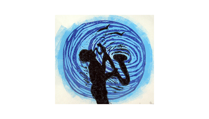 "Ripples - 12"" x 12"" linocut print, $150 framed 