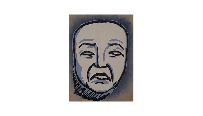 "Mask of Tragedy - 8"" x 10"" linocut print, $175 framed 