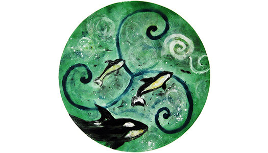 """Water - 28"""" x 30"""" monotype, $400 framed (plus shipping), © Joanne Brown, Vancouver, BC"""
