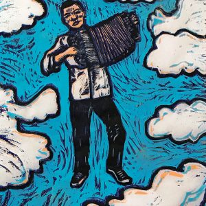 Accordianista - woodblock print © Joanne Brown