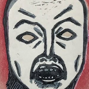Mask of Anger - linocut print © Joanne Brown