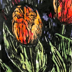 Anne's Tulips - woodblock chine-collé print © Joanne Brown