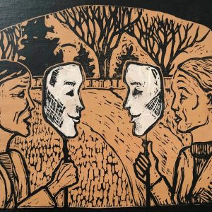 Conversation - woodblock chine-collé print © Joanne Brown
