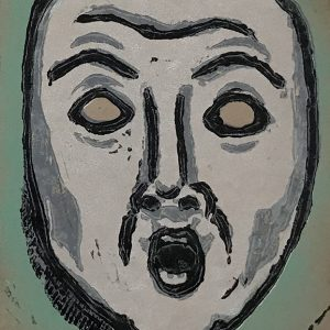 Mask of Fear - linocut print © Joanne Brown