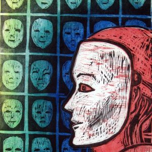 Many Masks - woodblock print © Joanne Brown