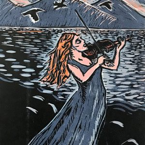 "Sunset Violin - 14"" x 16"" woodblock print © Joanne Brown"