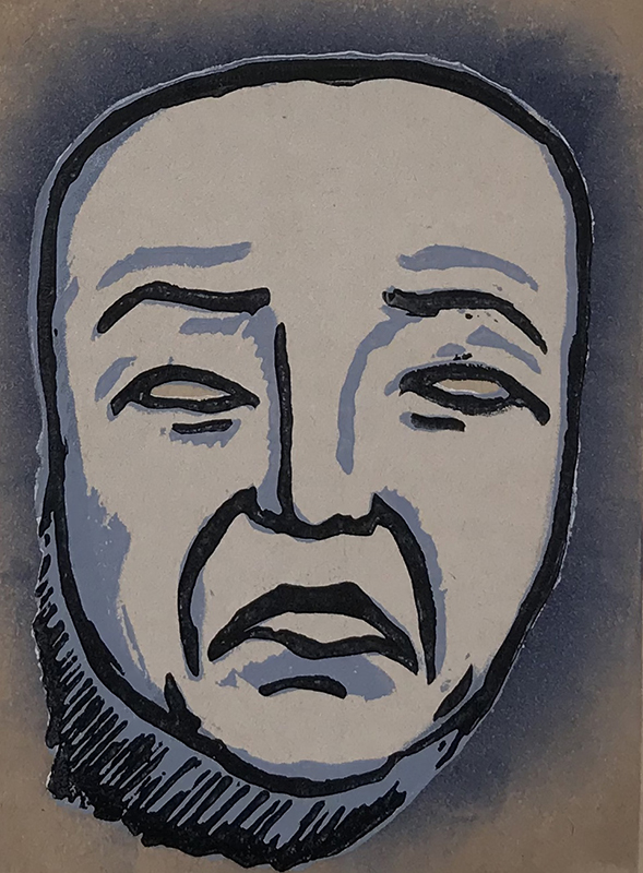 Mask of Tragedy - linocut print © Joanne Brown