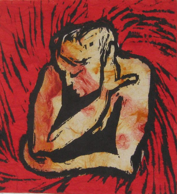 Warm Thoughts - woodblock chine-collé print © Joanne Brown