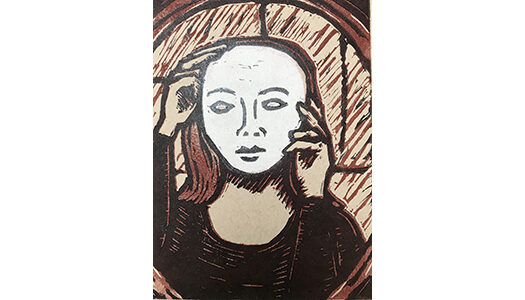 "Behind the Mask - 8"" x 10"" linocut, $175 framed 