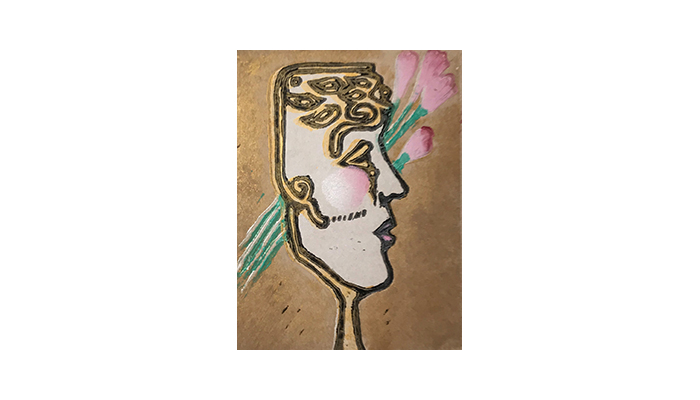 "Mask of Beauty - 8"" x 10"" linocut, $175 framed 