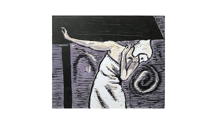 "Masked Dancer - 15"" x 16"" woodblock print, $300 framed 