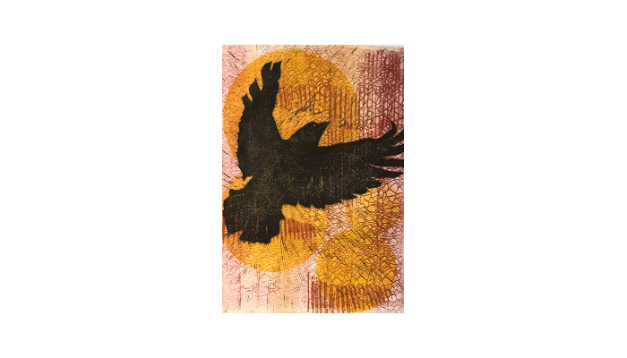 "Dream of Flight - 20"" x 27"" woodblock monotype © Joanne Brown"