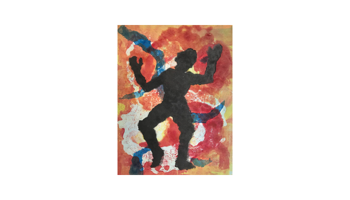 "Just Keep Dancing – 12"" x 16"" monotype print © Joanne Brown"