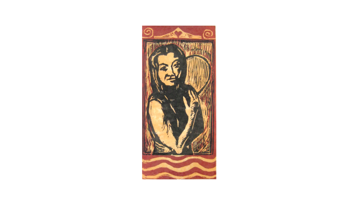 "Queen of Hearts – 13"" x 20"" woodblock print © Joanne Brown"
