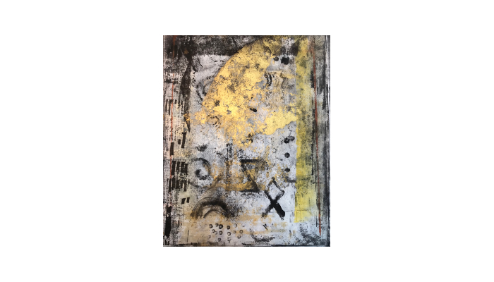 "Signs of Language – 14"" x 16"" mixed media print © Joanne Brown"