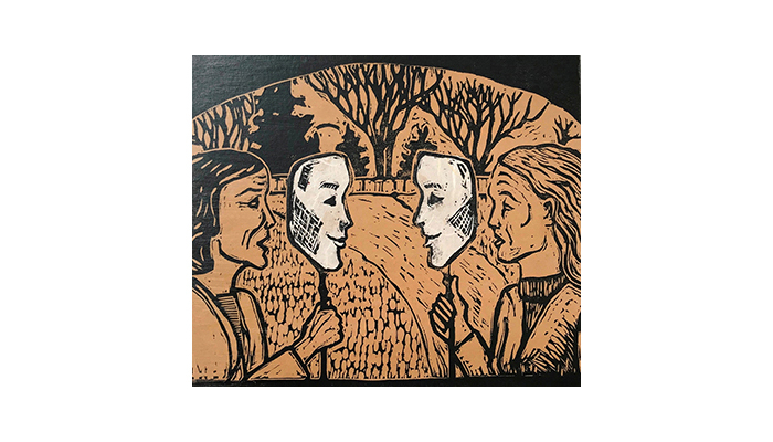 """Conversation - 16"""" x 18"""" woodblock chine-collé, $300 framed 
