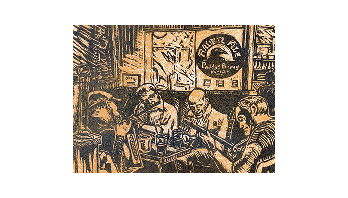 "Paddy's Pub Session - 14"" x 16"" linocut print, $200 framed 