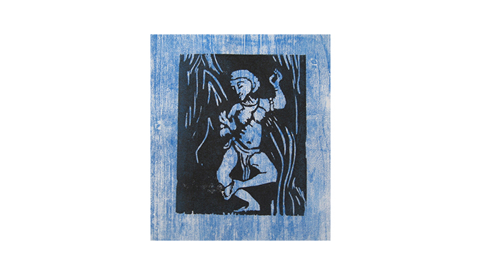 "Dance, Shiva - 14"" x 16"" woodblock print, $200 framed 