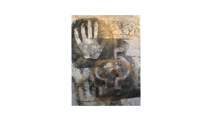 "Glyph 4 - 14"" x 18"" mixed media print © Joanne Brown"
